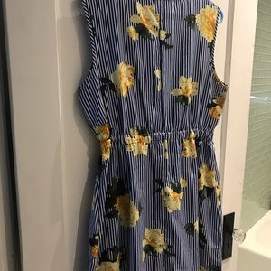 Dresses - Blue pinstripe and yellow floral dress